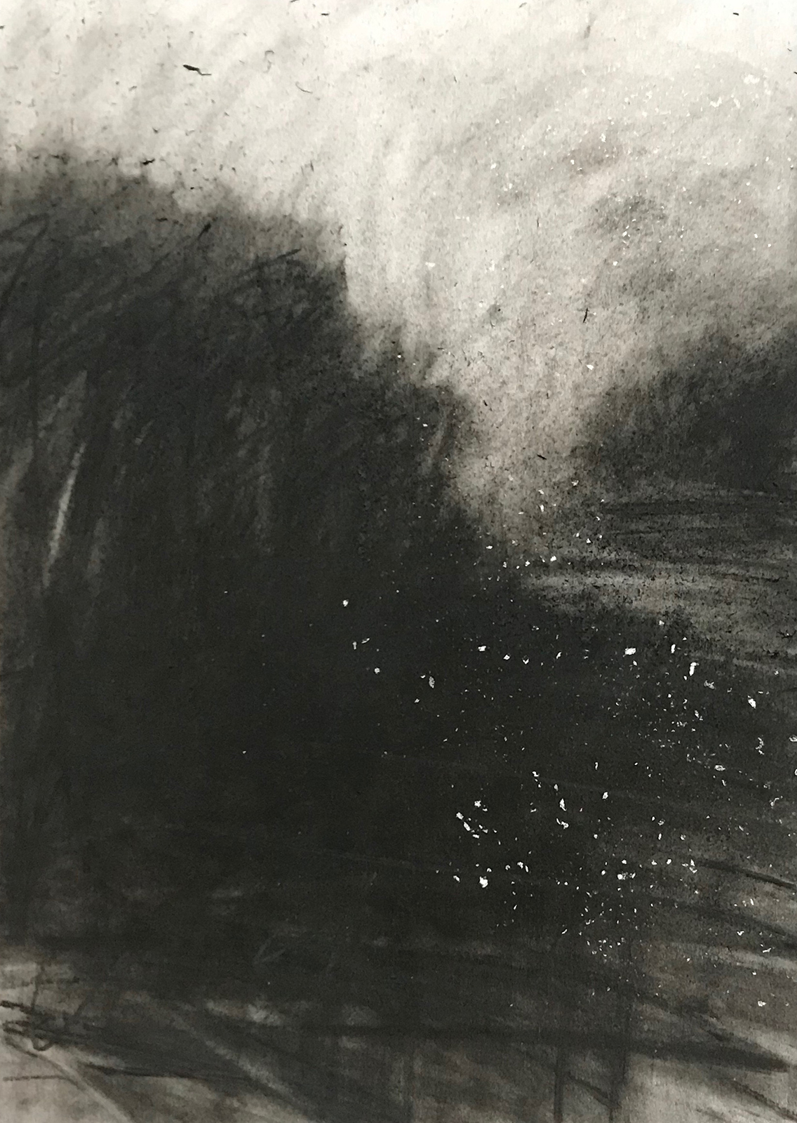 """Drawing...the field at dusk 26:06"" (charcoal, pencil and chalk on paper 21x30cm) Artwork for sale £100"