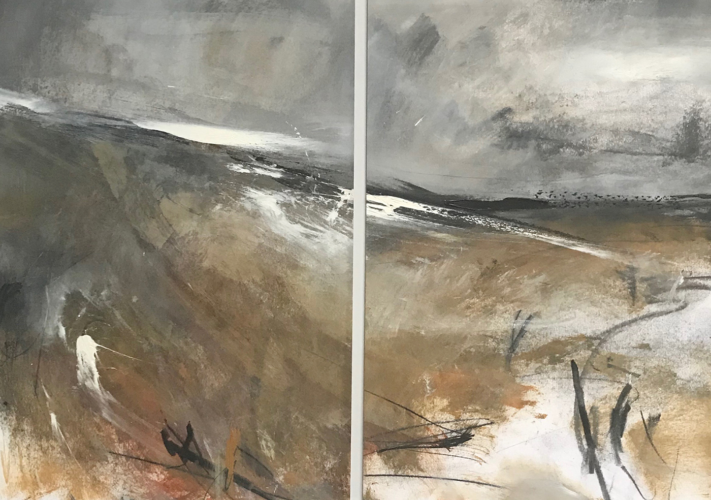 """The moor"" 27:06 (oil, chalk and pencil on paper 36x50cm diptych) Artwork for sale £360"