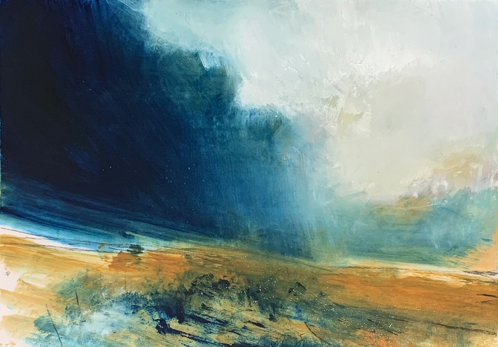 """""""…light and mist on blue…05:07""""  (oil, chalk and pencil on paper 29x42cm) Artwork for sale £400"""