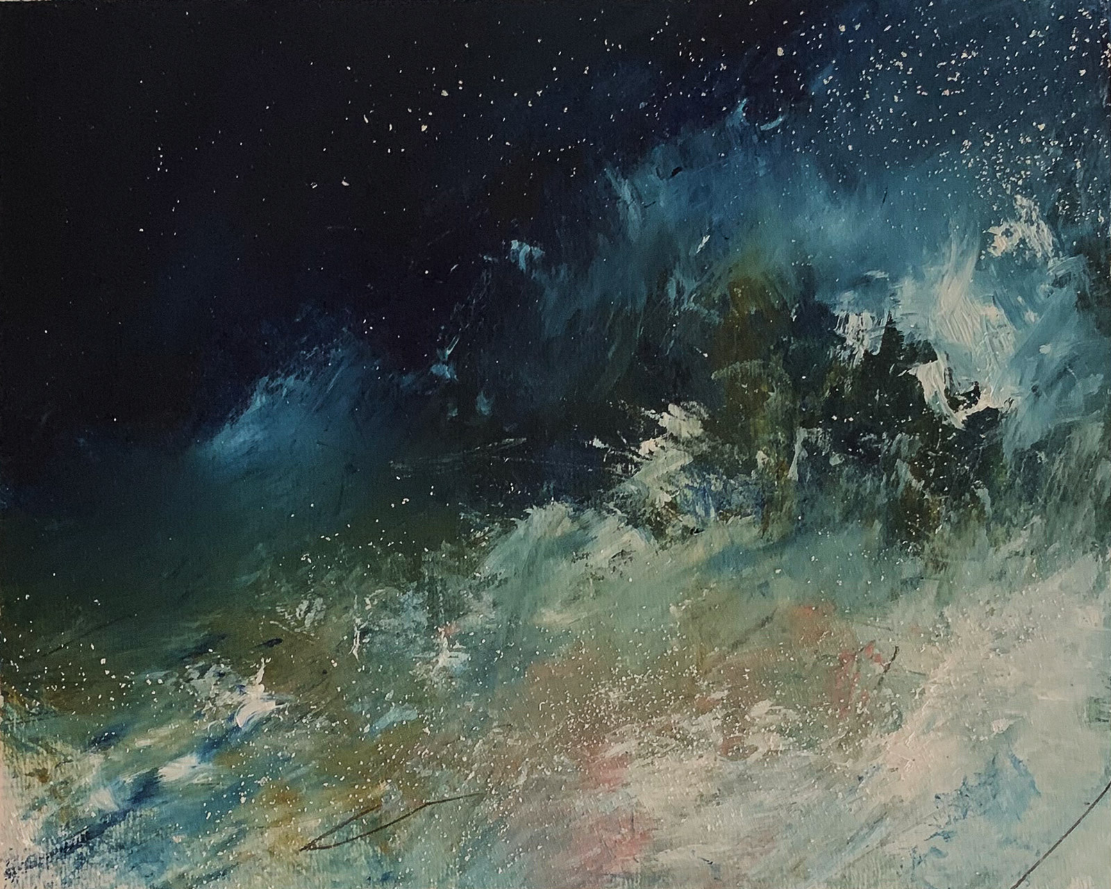 """""""...inside the storm III...18:06""""   (oil, chalk and pencil on paper 30x25cm)   Artwork for sale £150"""